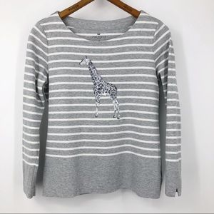 Talbots Sweatshirt Striped Sequin Giraffe Gray SP